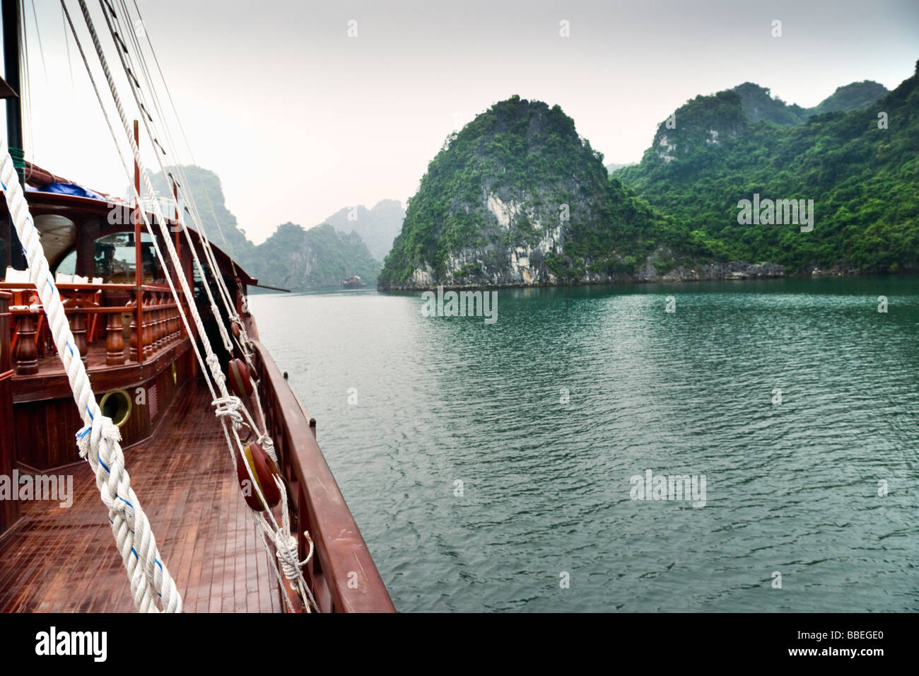 Boat, Gulf of Tonkin, Halong Bay, Quang Ninh Province, Vietnam Stock Photo