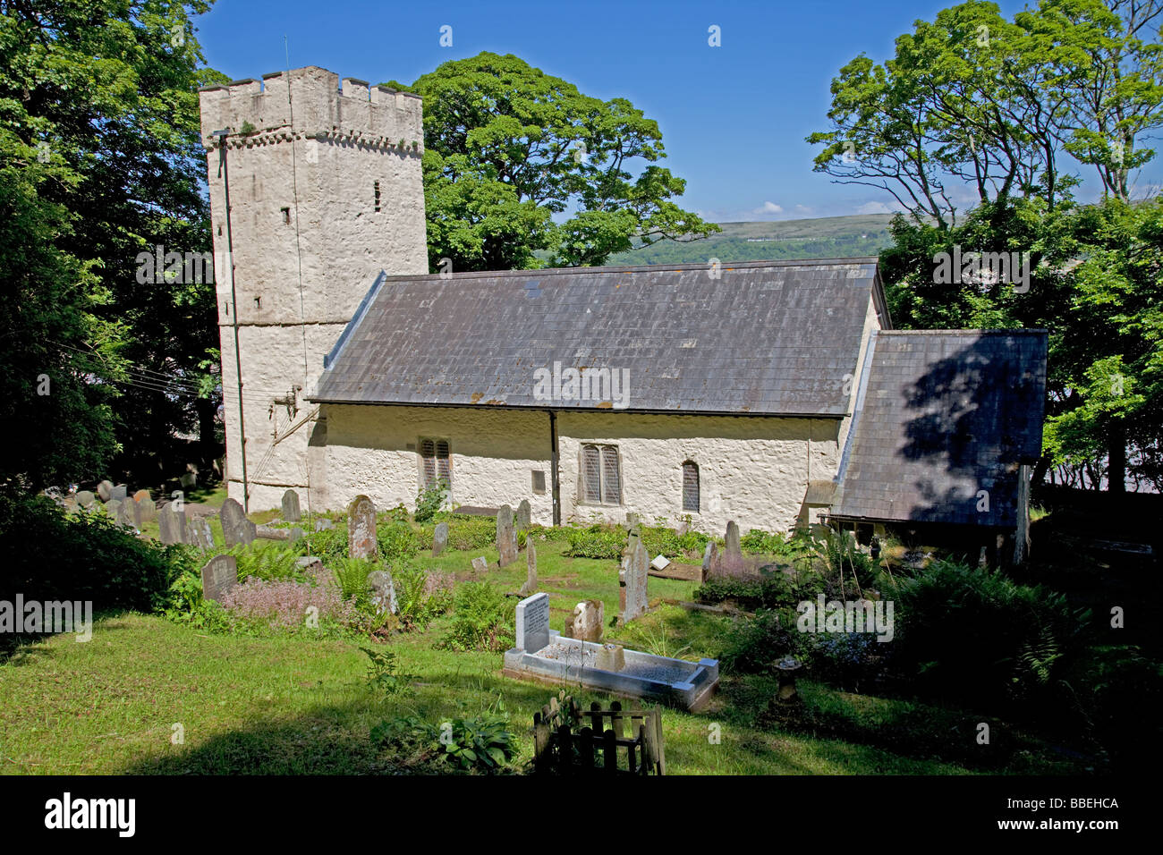 St Illtyd church Oxwich Bay Gower South Wales UK - Stock Image