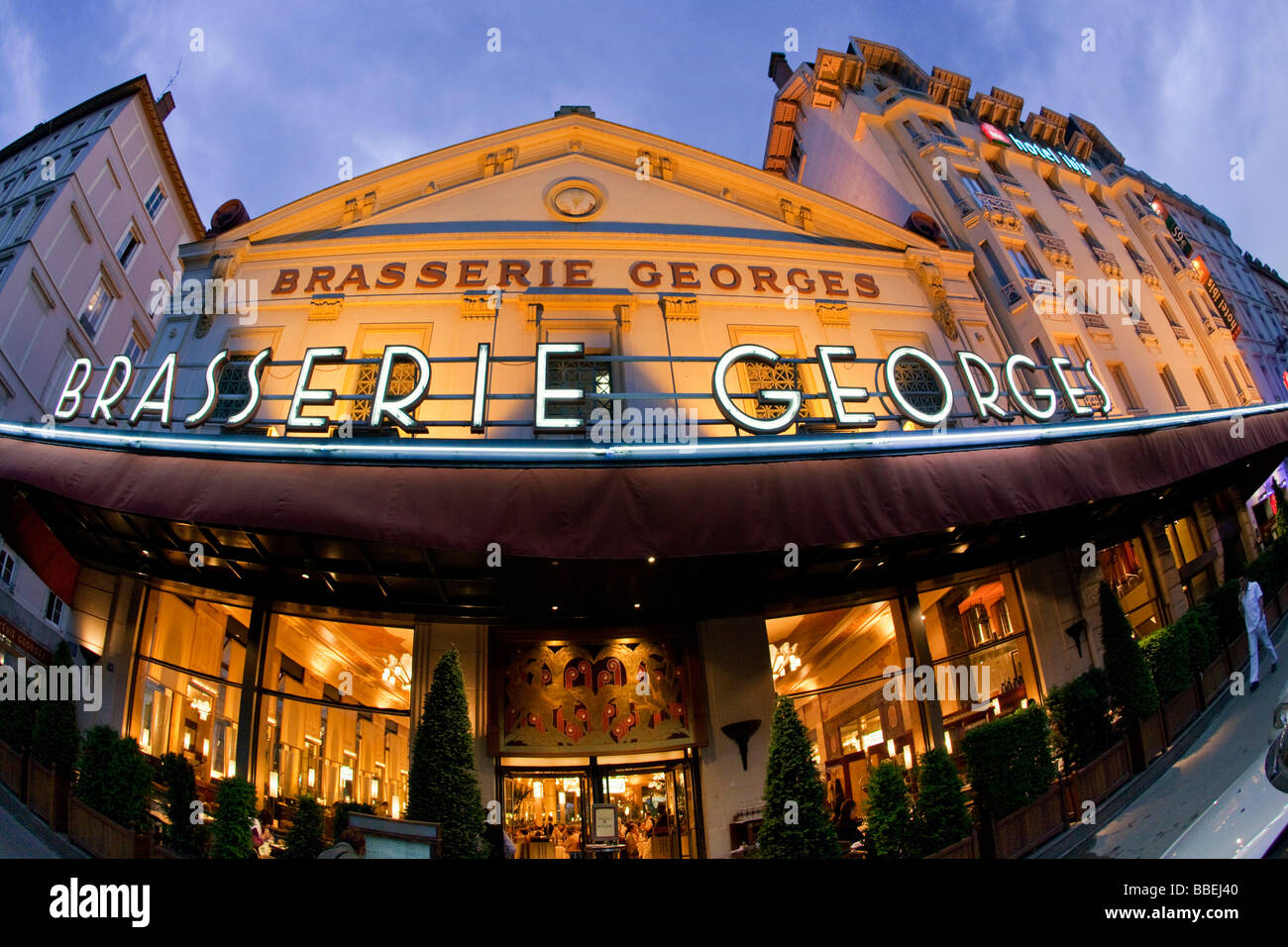 Brasserie Georges outdoor at twilight Lyon Rhone Alps France - Stock Image