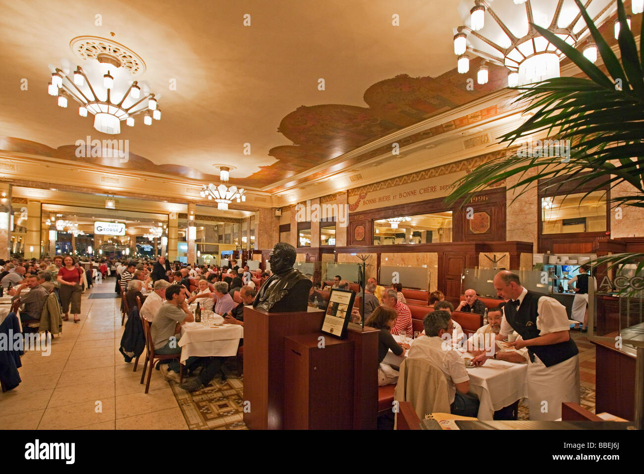 Brasserie Georges indoor people Lyon Rhone Alps France - Stock Image