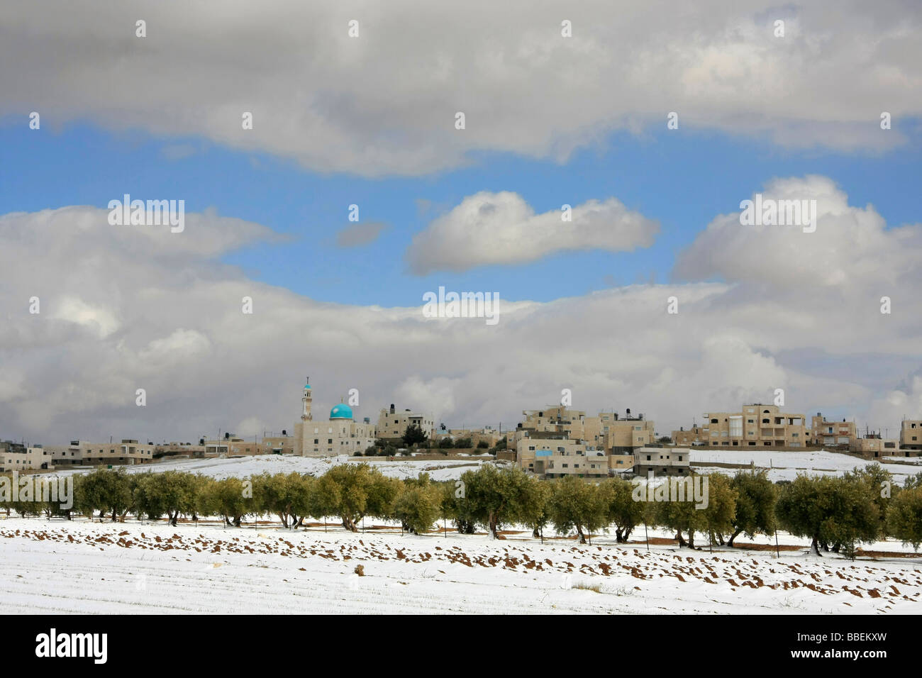 Judea a Palestinian village in the snow - Stock Image