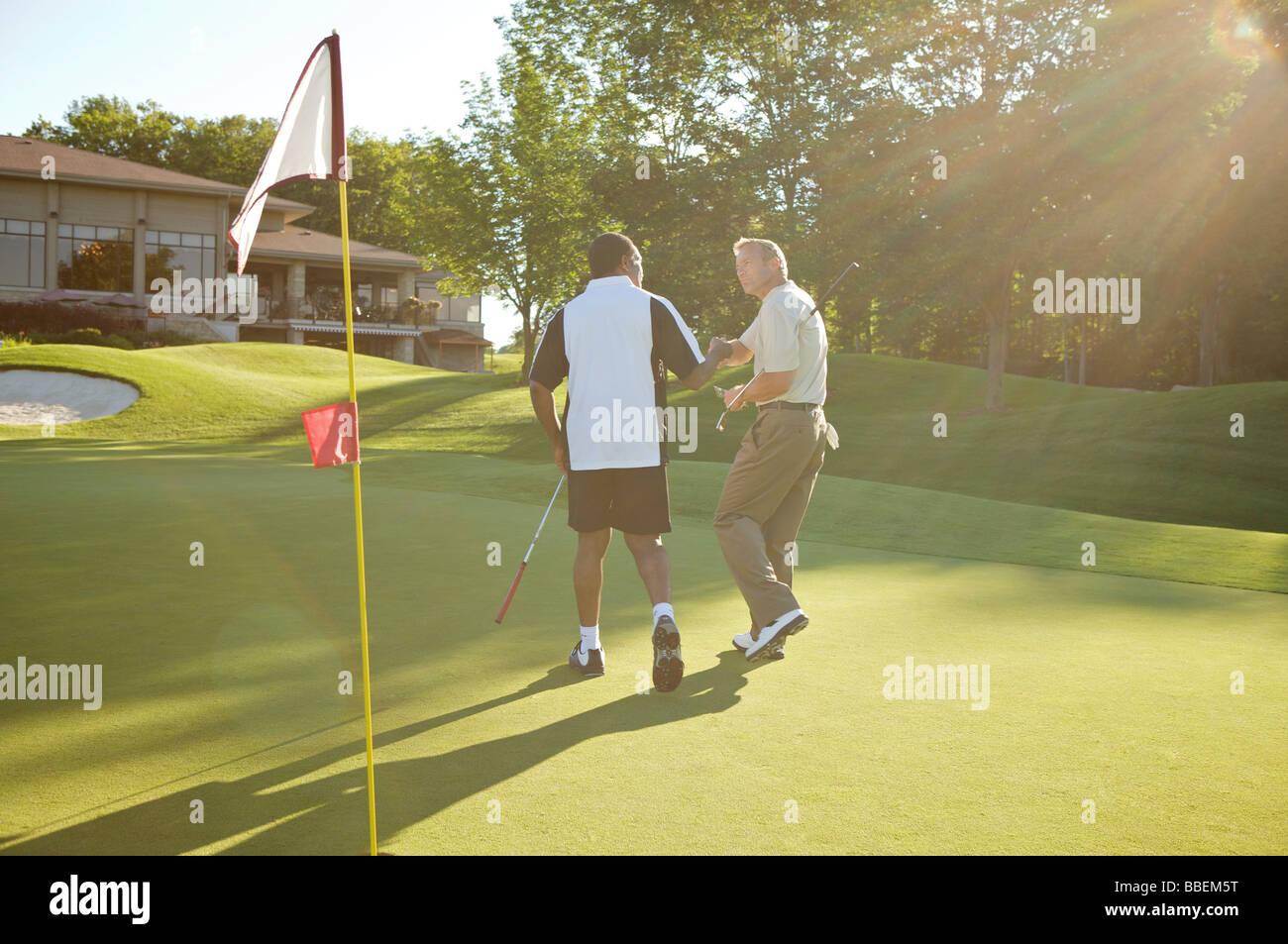 Men Golfing, Burlington, Ontario, Canada Stock Photo
