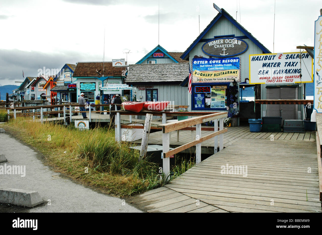 Tourist Shops And Restaurants On Homer Spit Alaska Usa