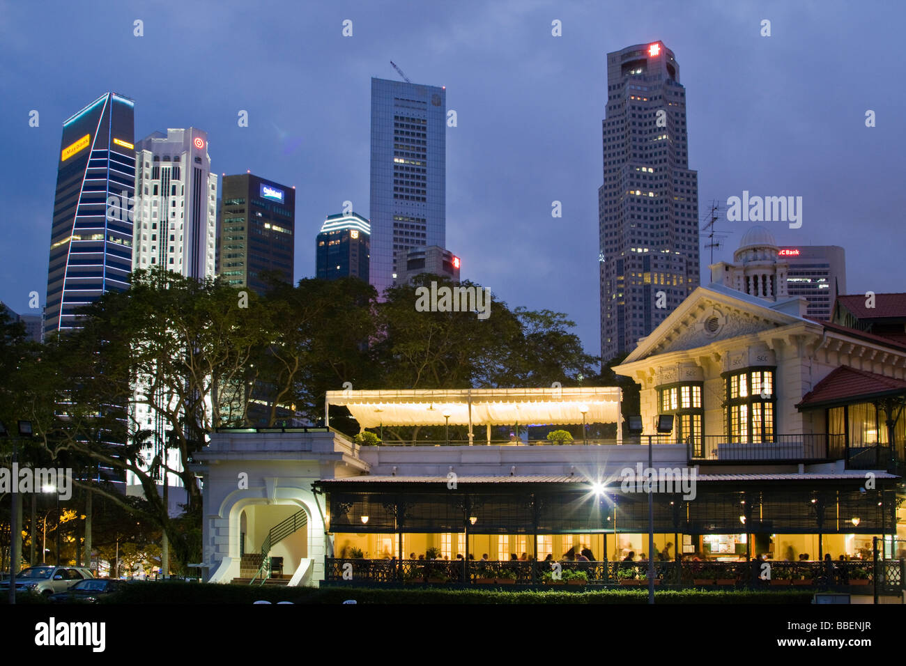 Skyline of Singapore, Singapur,  South East Asia twilightStock Photo