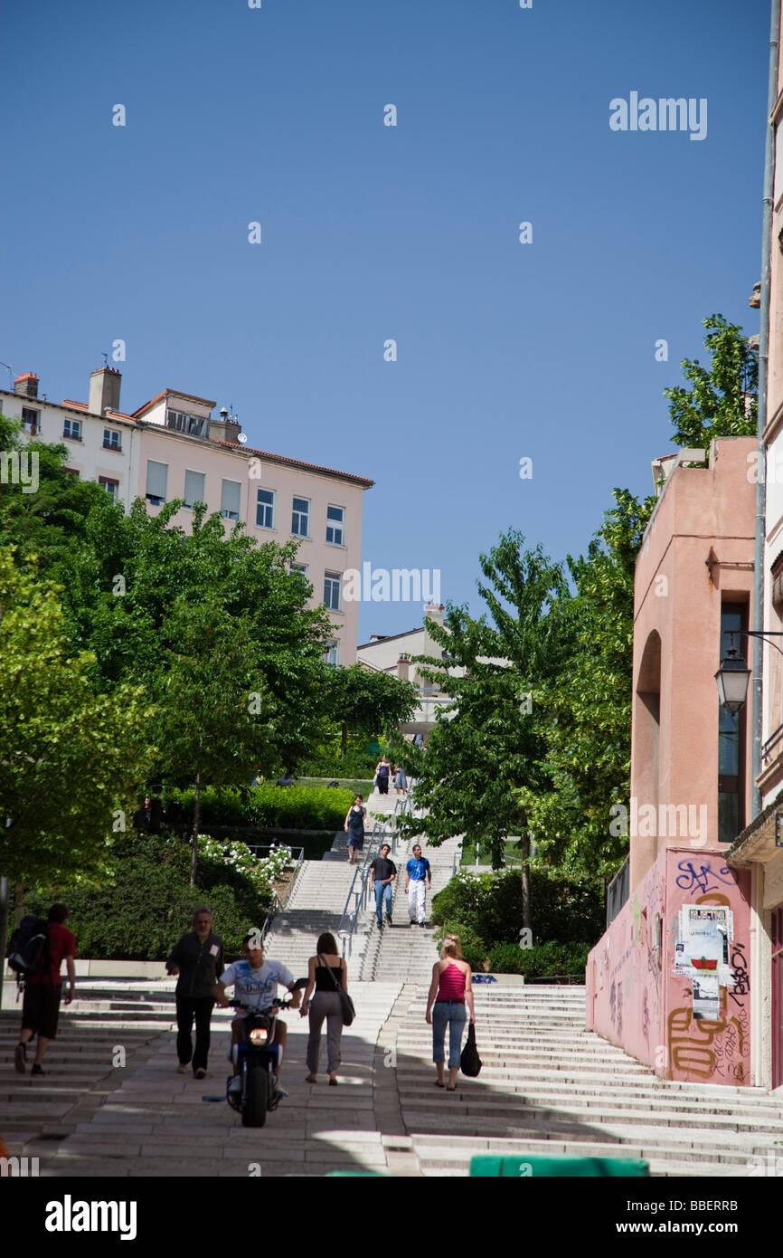 Pentes de la Croix Rousse stairs Lyon Rhone Alps France - Stock Image