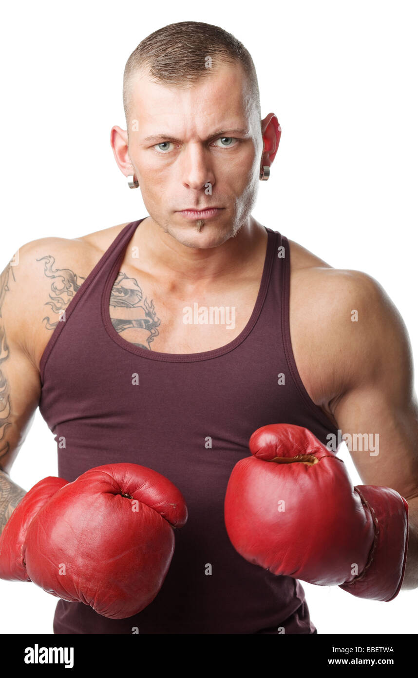 Boxing Gloves Man Wiring Diagrams With Linearregulator Current Source Circuit Diagram Tradeoficcom Muscular Young In Ready To Fight Stock Photo Rh Alamy Com