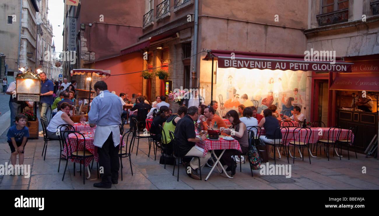 Street Restaurants at Old City Center Vieux Lyon UNESCO World Heritage Lyon Rhone Alps France - Stock Image