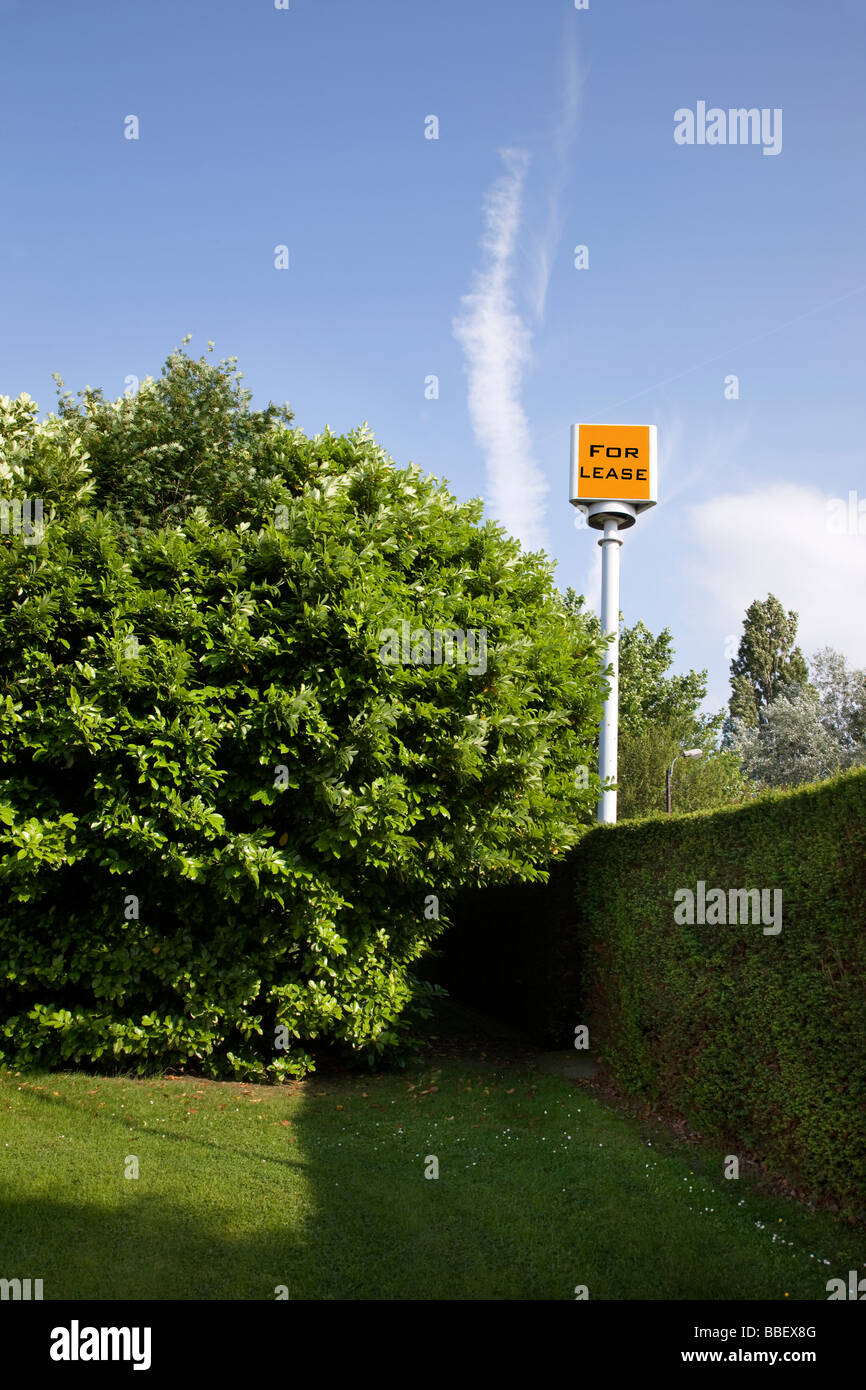 A 'for lease' sign in a backyard - Stock Image