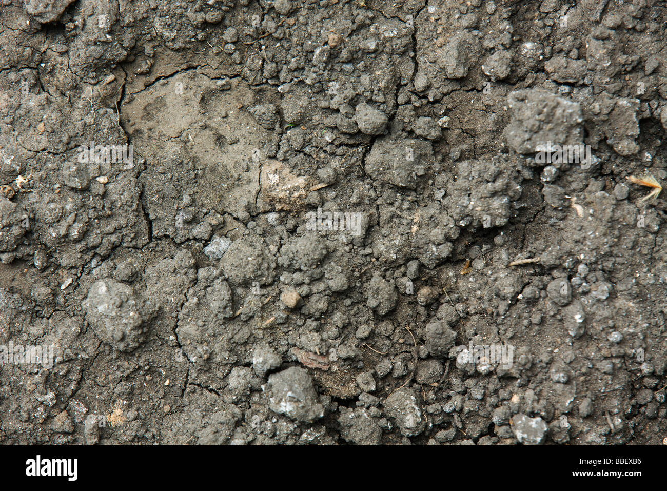 Soil mixed with gravel, rubble - Stock Image