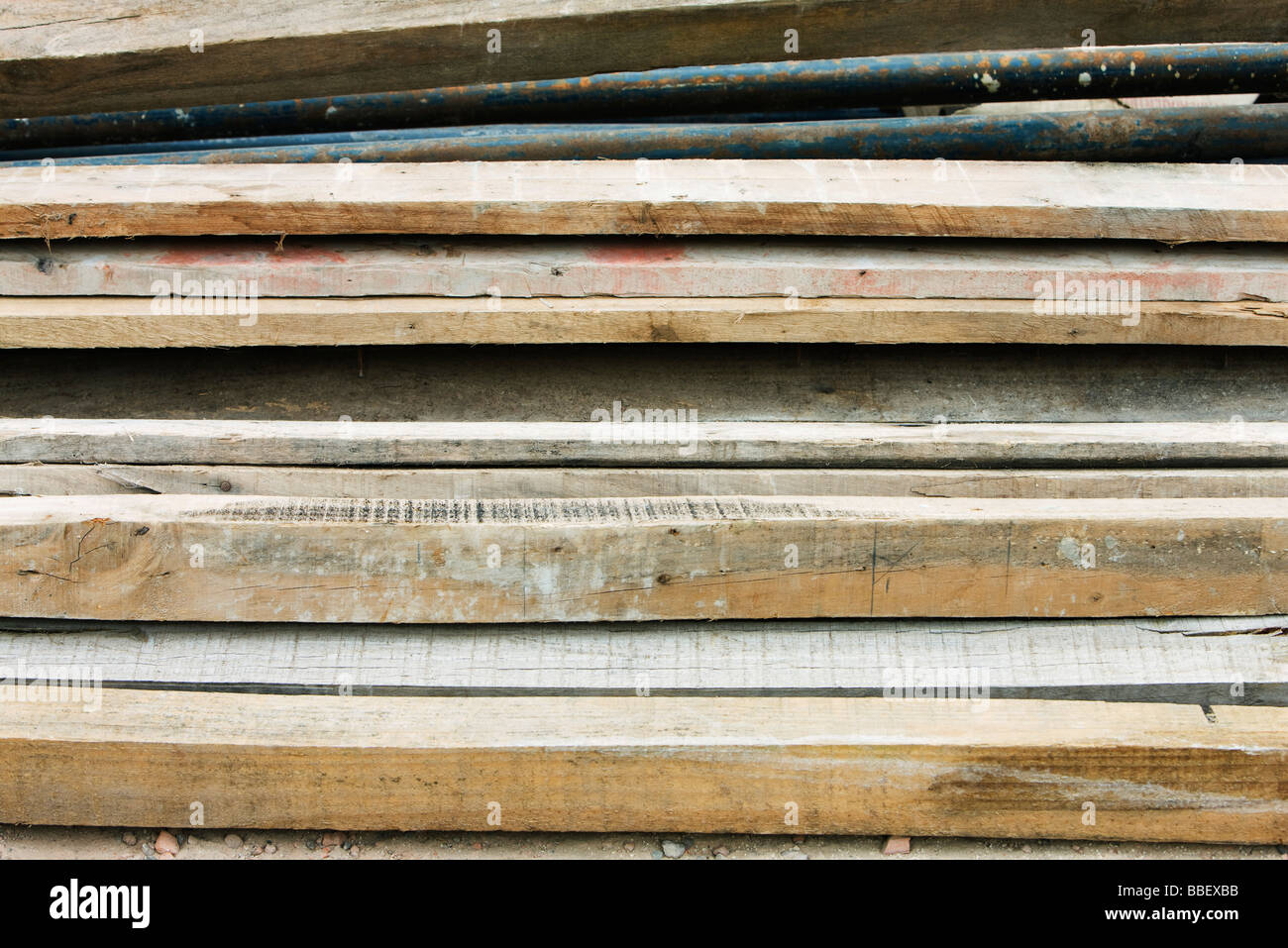 Pile of wooden planks, close-up - Stock Image