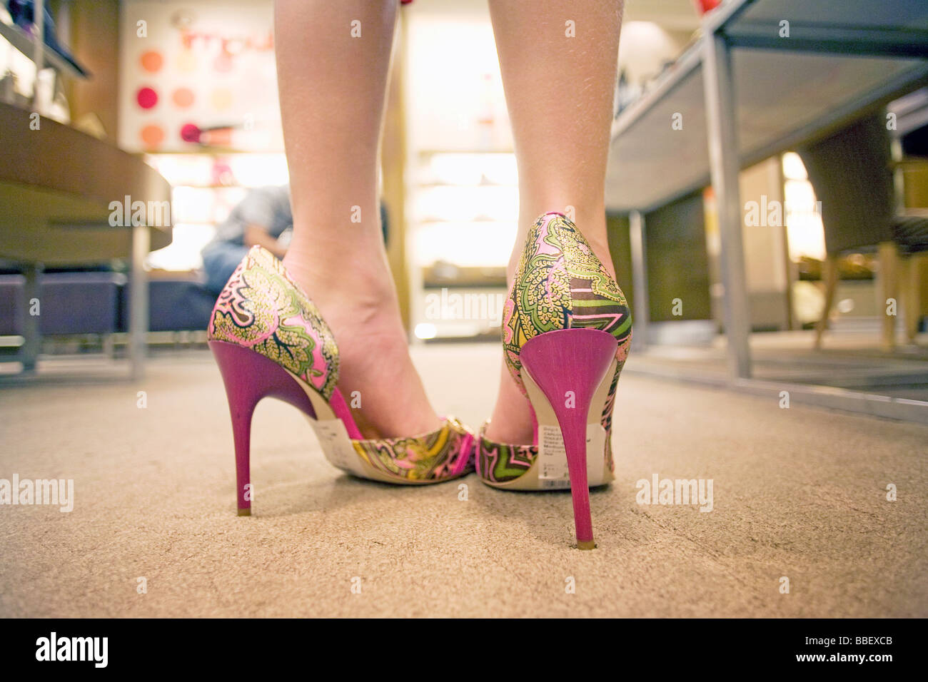 Close Up Young Feet In Heels Stock Photos Close Up Young Feet In