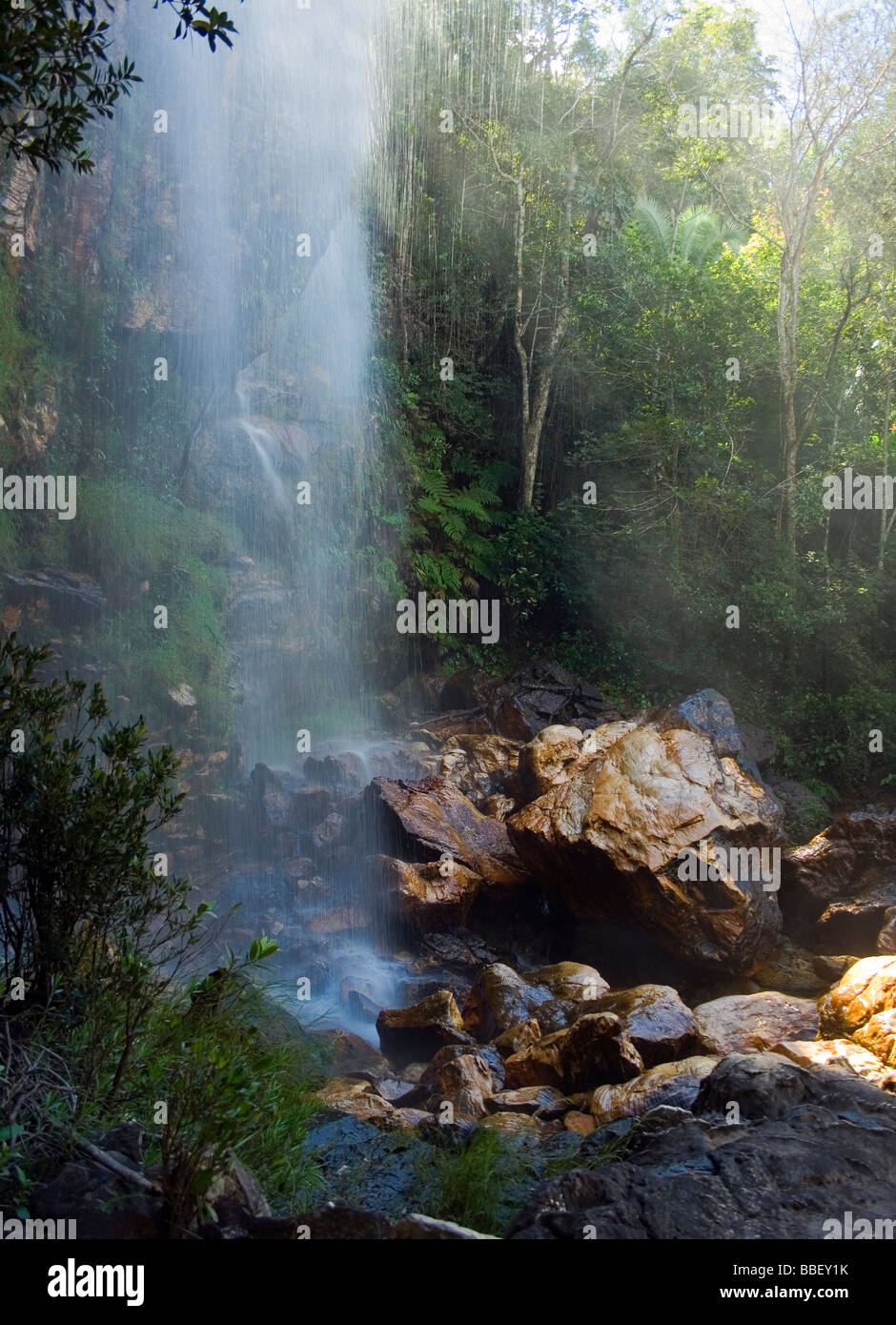 Agua Fria Waterfall Chapada dos Veadeiros Veadeiros Tableland Goias Brazil Stock Photo