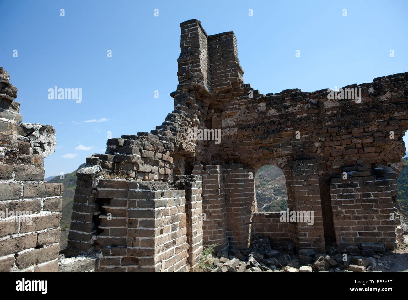 A broken wall is seen on the Great Wall near Beijing, China - Stock Image