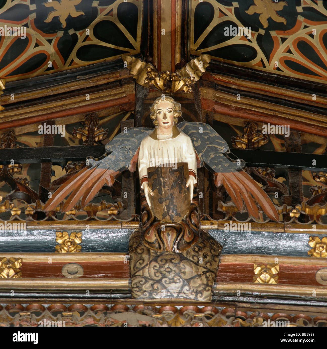 Exeter Cathedral Angel In Chapter House - Stock Image