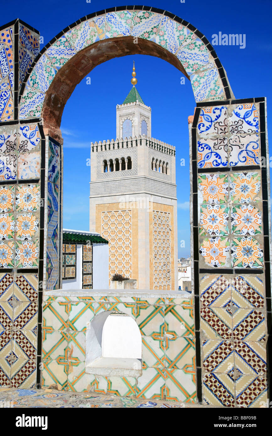 A Terrace With A View At The Zaytuna Mosque In Tunis Tunisia Stock Photo Alamy