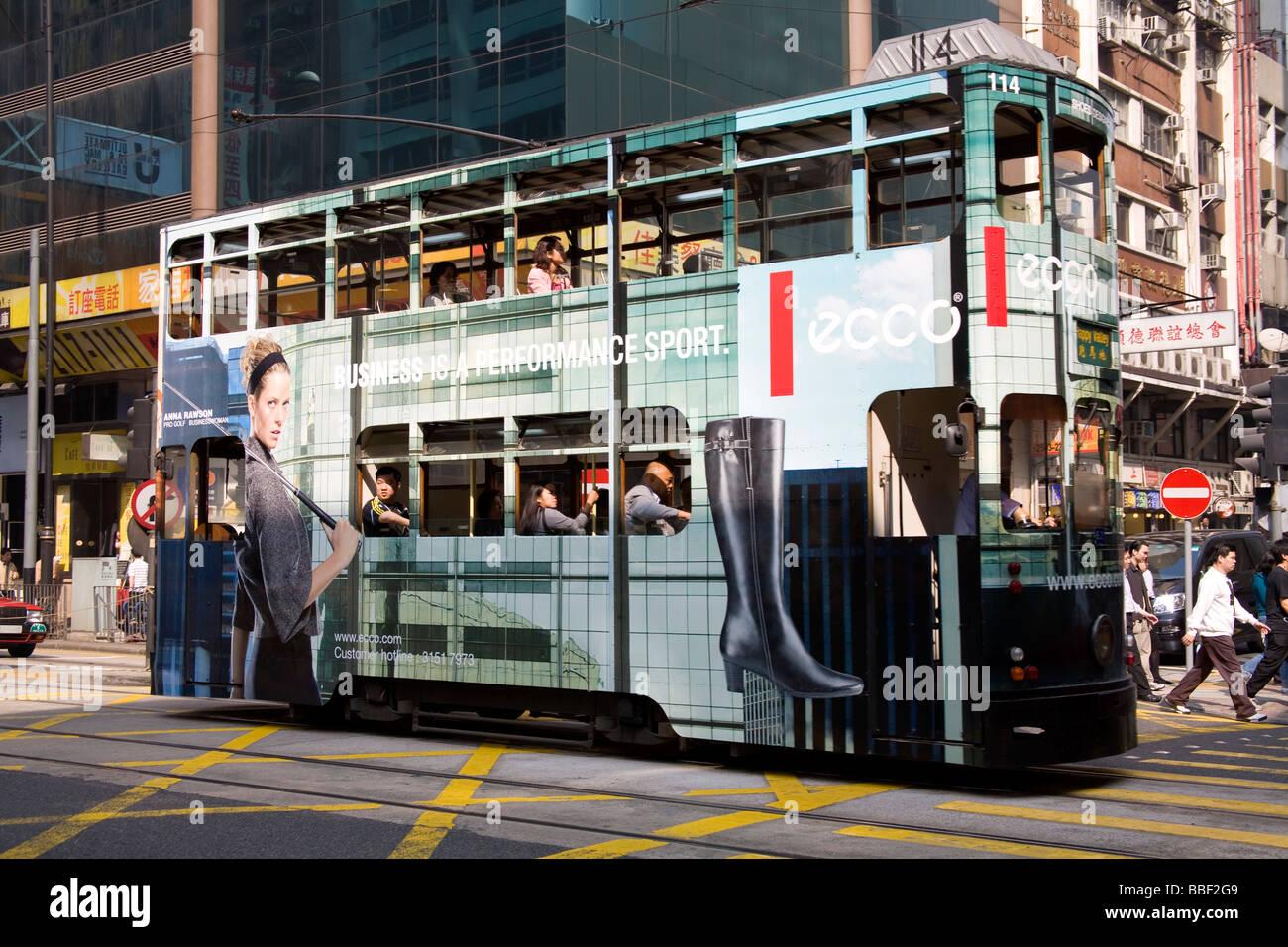 Double stored tram; Hong Kong, Honk Kong Island, China - Stock Image