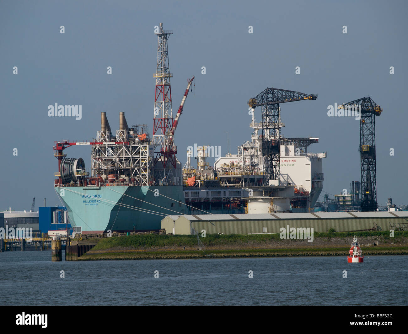the Aoka Mizu is a purpose built production ship of 246m length a floating oil production platform. Rotterdam port, Netherlands Stock Photo