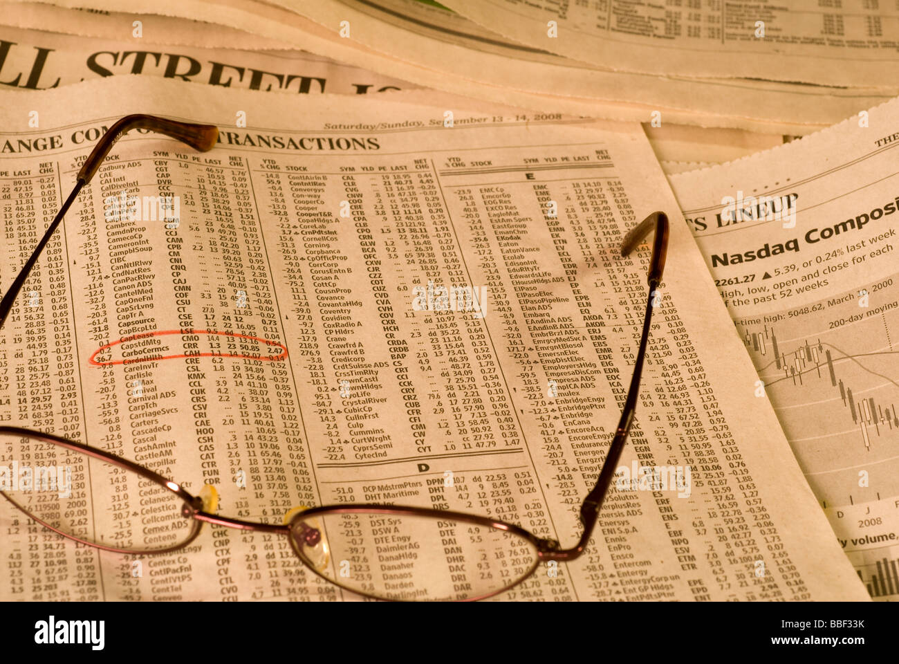 Wall Street Journal, a financial newspaper - Stock Image