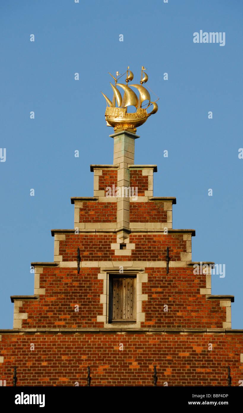 Gable of Flemish house in Antwerp, Belgium - Stock Image
