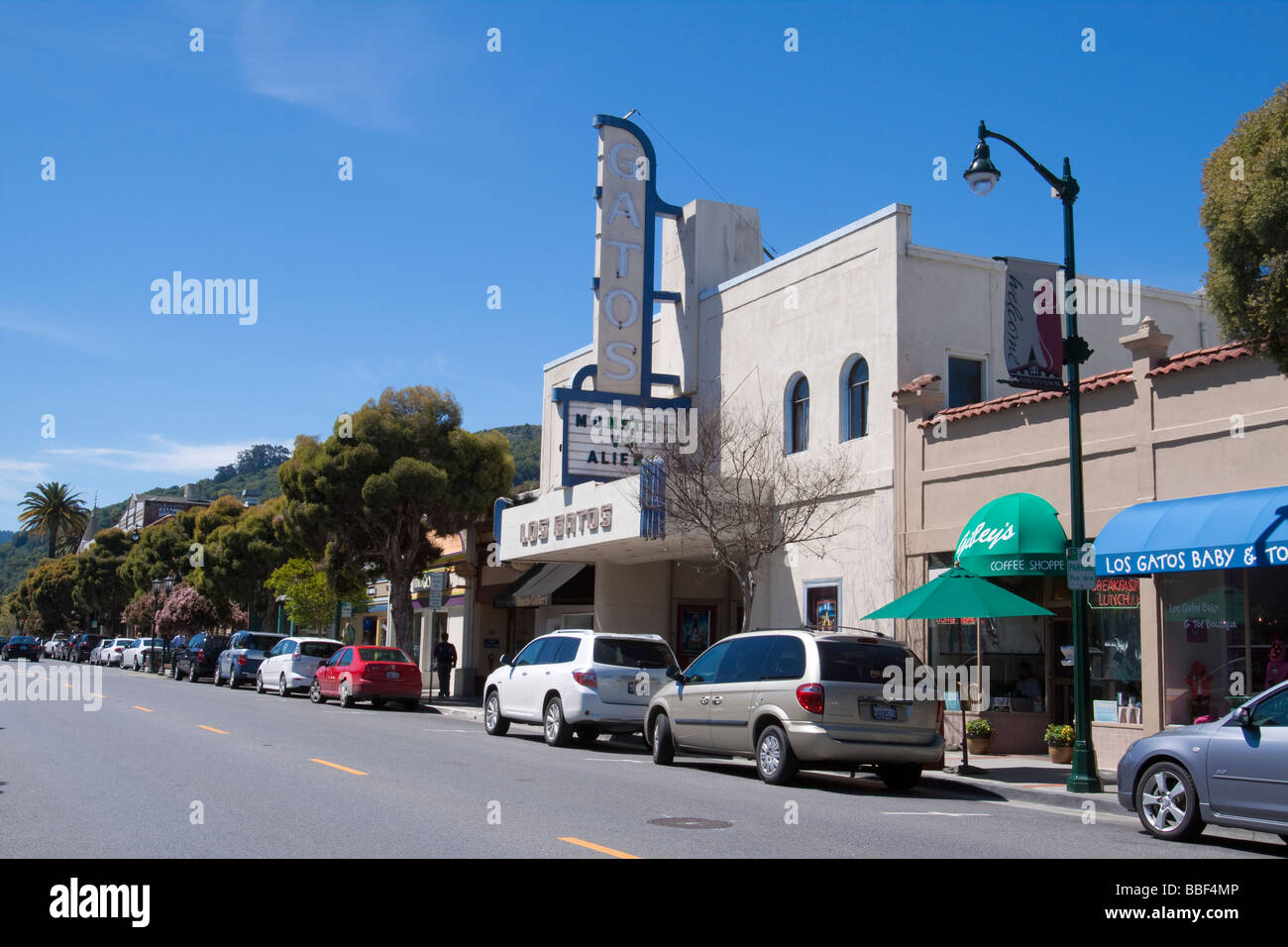 Street scene on main street of downtown Los Gatos California with old fashioned theater architecture - Stock Image