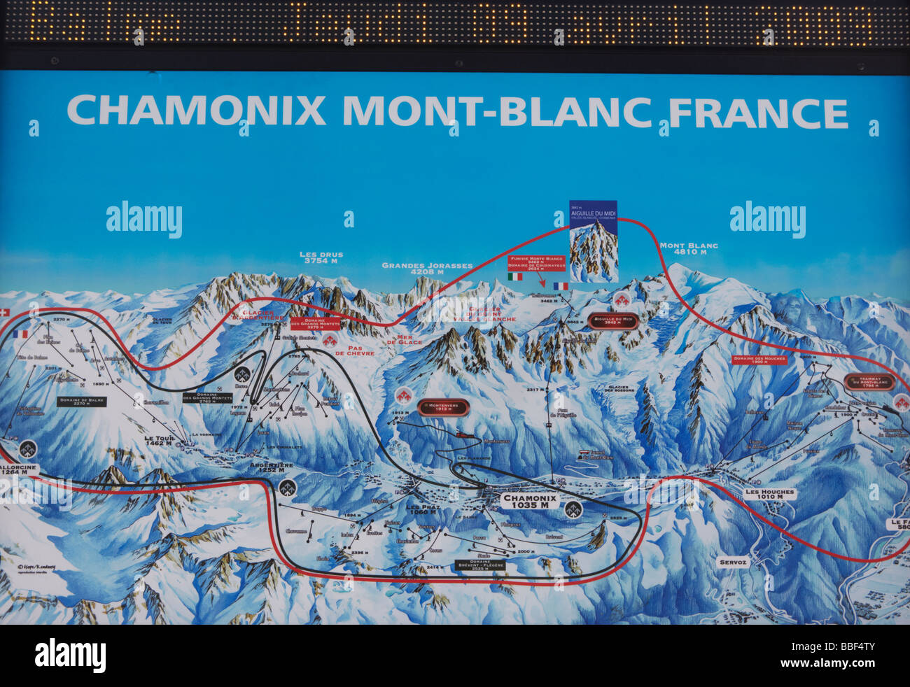 Piste Map For Chamonix Mont Blanc French Alps France Europe Stock