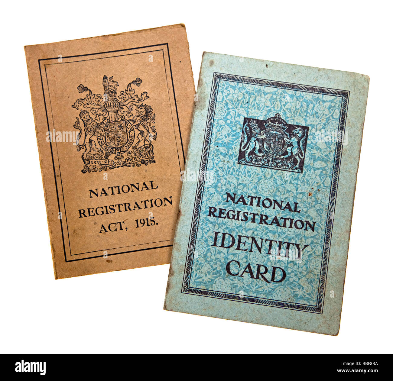 National identity cards issued during first and second world wars UK - Stock Image