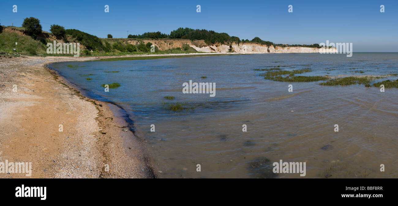 A panoramic view of Pegwell Bay in Kent. Stock Photo