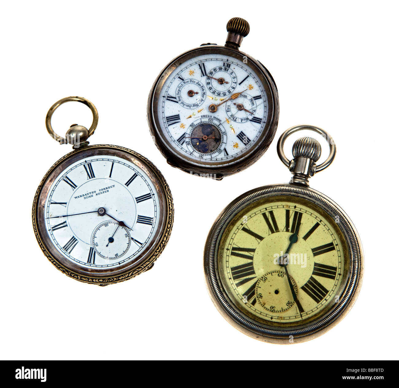 Three antique pocket watches UK - Stock Image