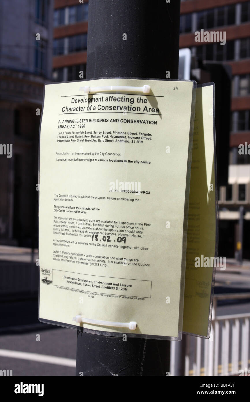 A planning application notice in a U.K. city. - Stock Image