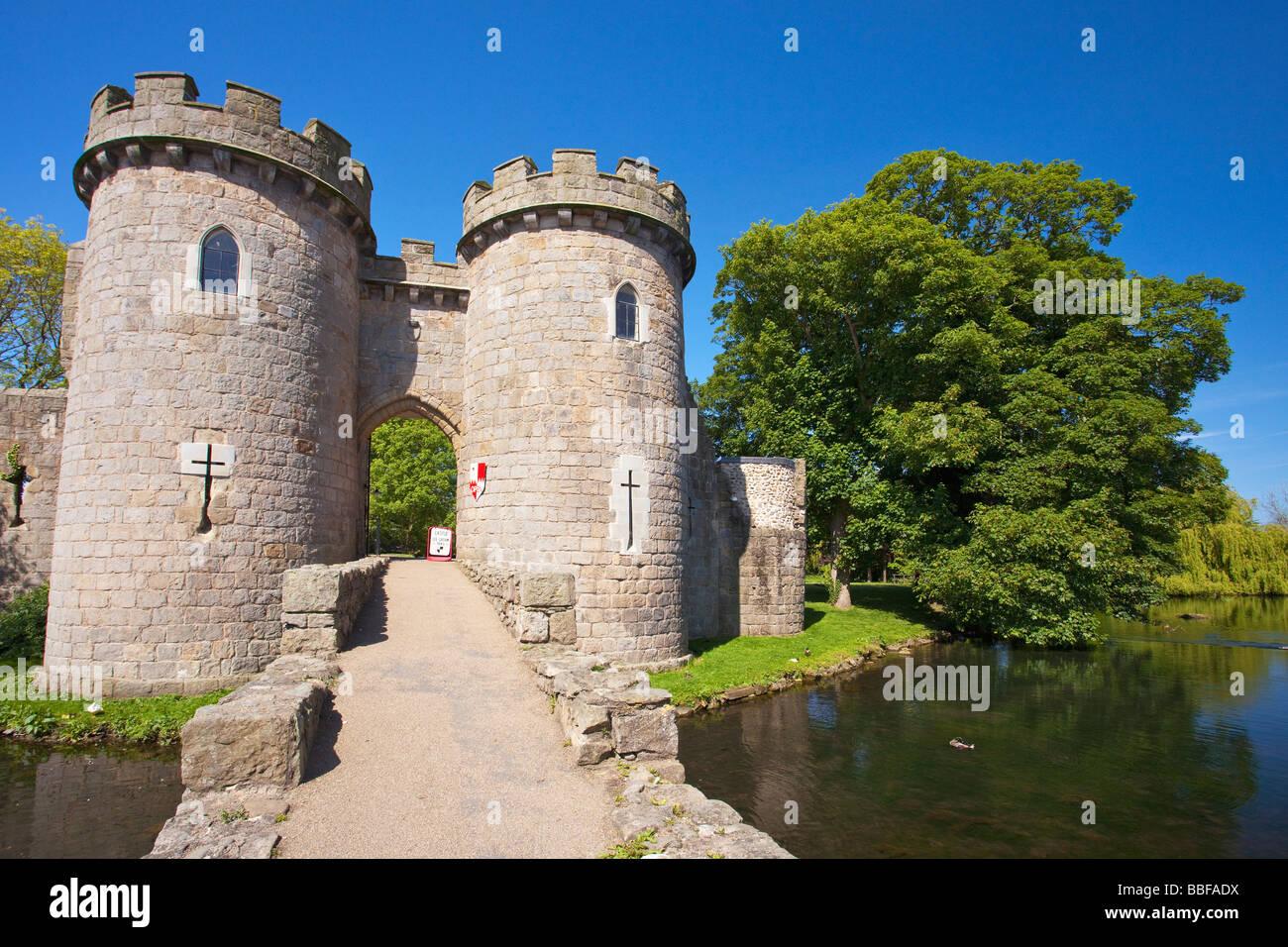 Whittington Castle moat near Oswestry Shropshire England UK United Kingdom GB Great Britain British Isles Europe - Stock Image