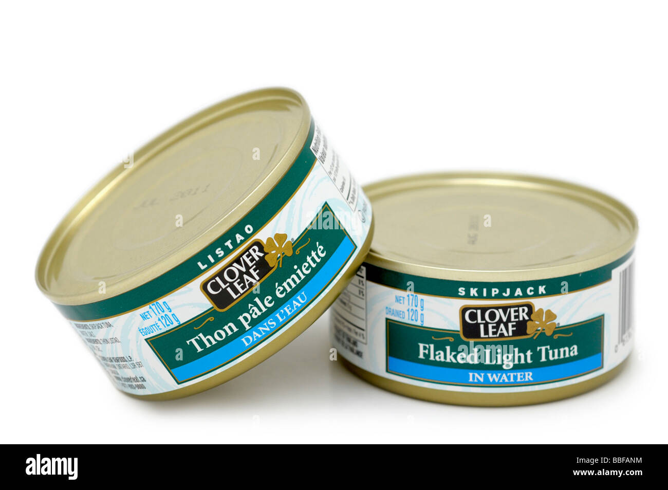 Tins of Flaked Light Tuna in Water - Stock Image