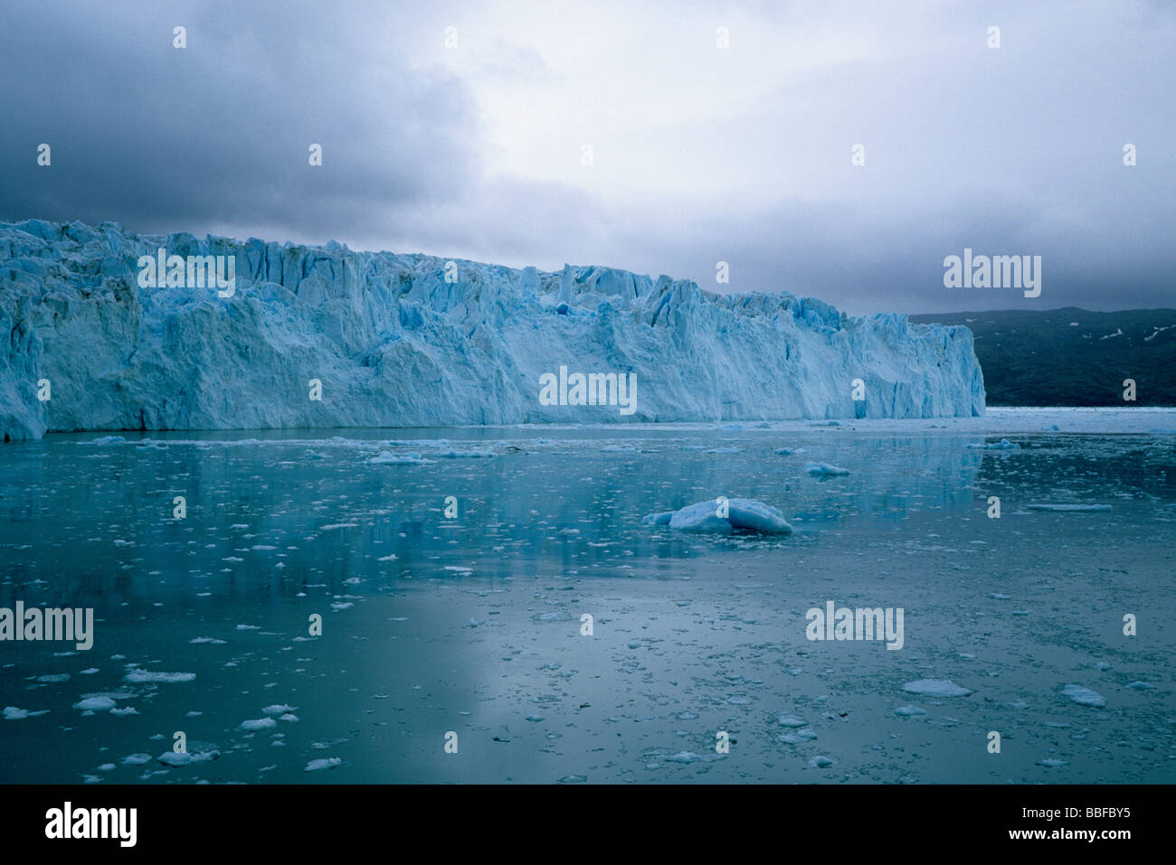 Equip Sermia Glacier, West Greenland, in bad Weather Stock Photo