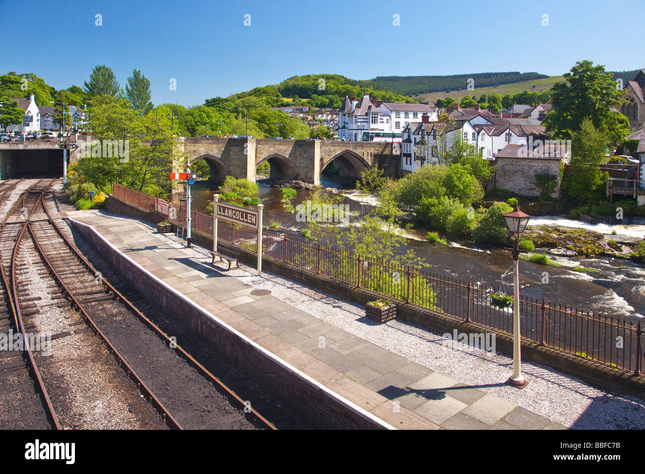 Famous River Dee Bridge built by Bishop Trevor in 1345 Llangollen Denbighshire North Wales Cymru UK United Kingdom Stock Photo