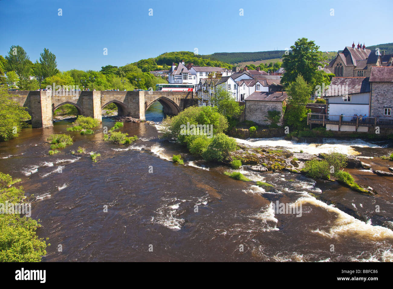 Famous River Dee Bridge built by Bishop Trevor in 1345 Llangollen Denbighshire North Wales UK United Kingdom GB Stock Photo
