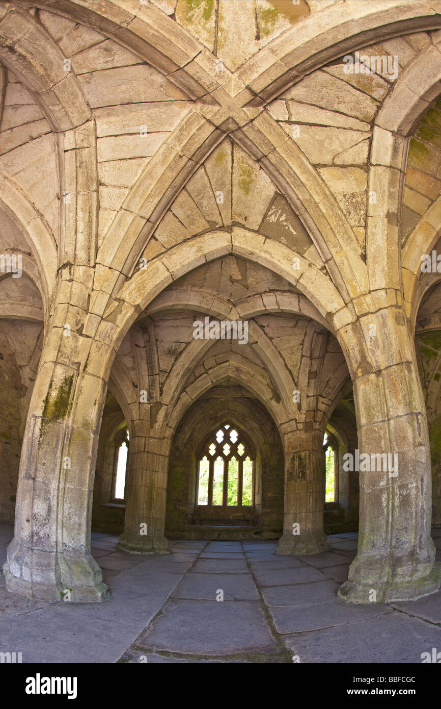 Interior of Chapter House Valle Crucis 13th century Cistercian Abbey Ruins near Llangollen North Wales Cymru UK Stock Photo