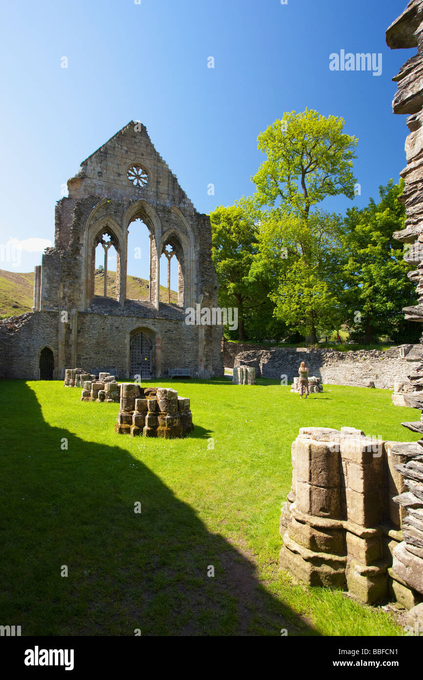 Valle Crucis 13th century Cistercian Abbey Ruins near Llangollen North Wales Cymru UK United Kingdom GB Great Britain Stock Photo