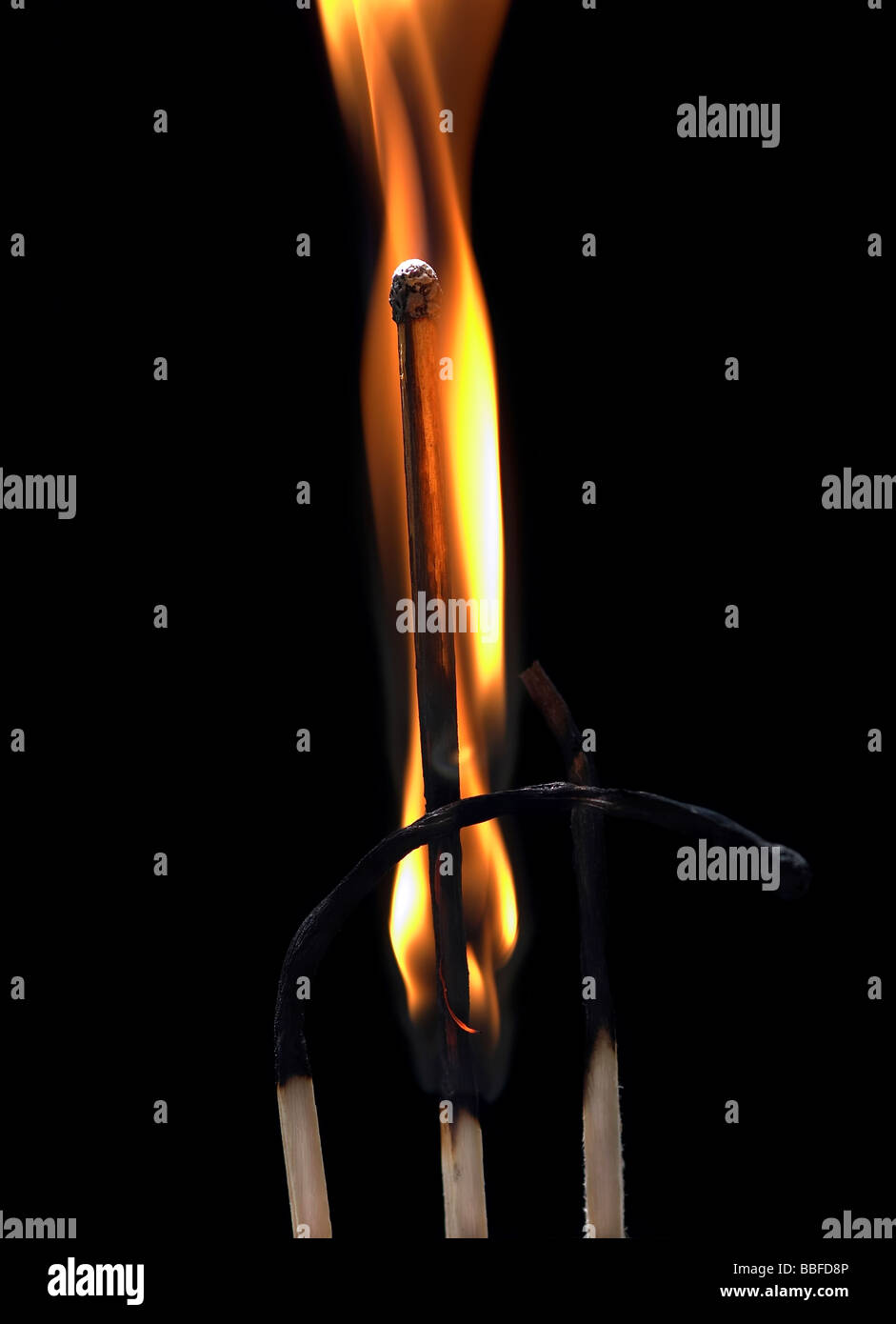 Detail close-up of the fiery matches - Stock Image