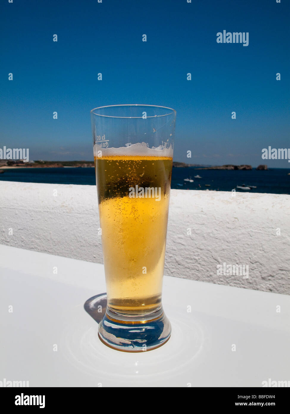 Glass of cold lager - Stock Image