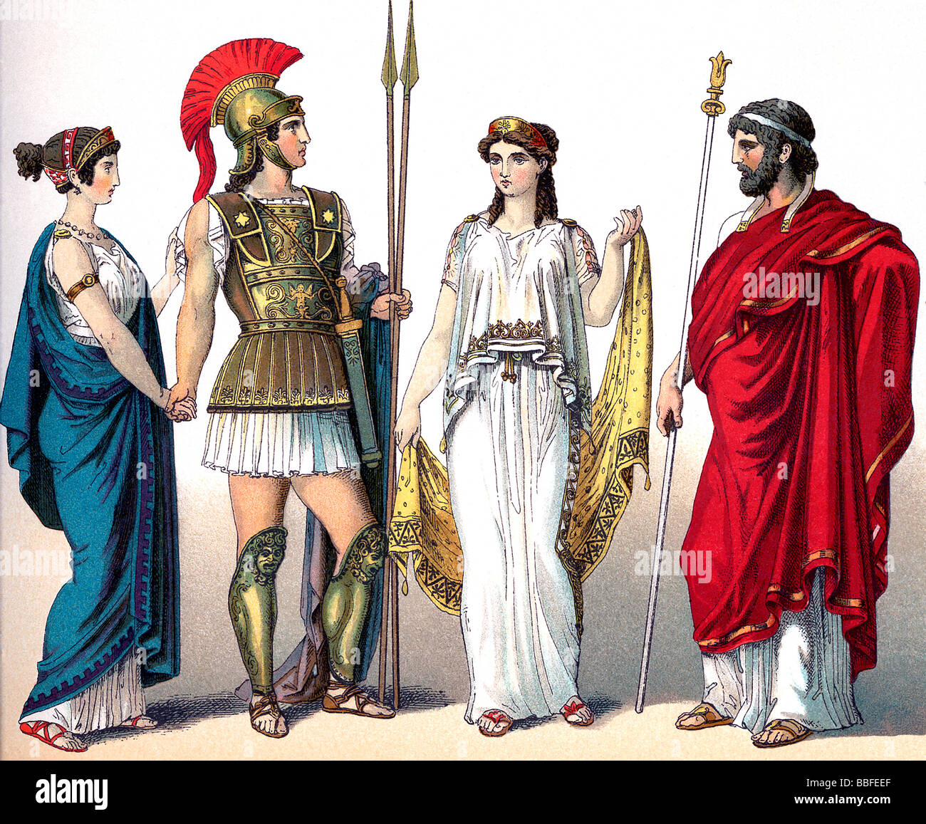 Greek Women, Warrior, and King - Stock Image