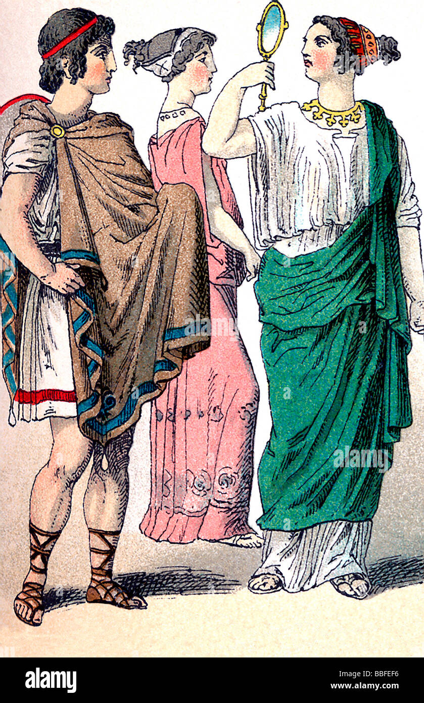 Ancient Greek Man and Women - Stock Image