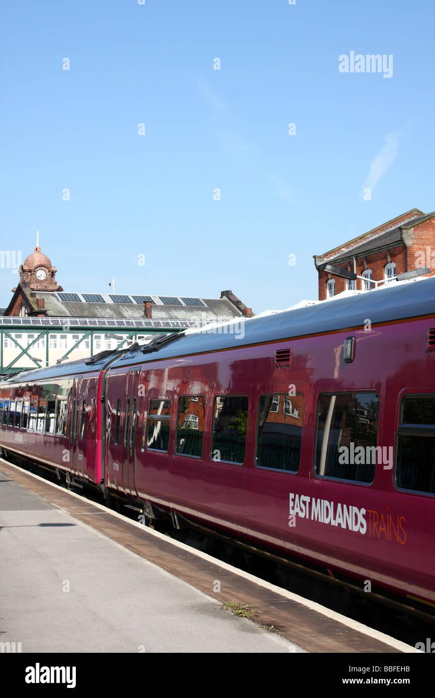 An East Midlands train at Nottingham Station, Nottingham, England, U.K. - Stock Image