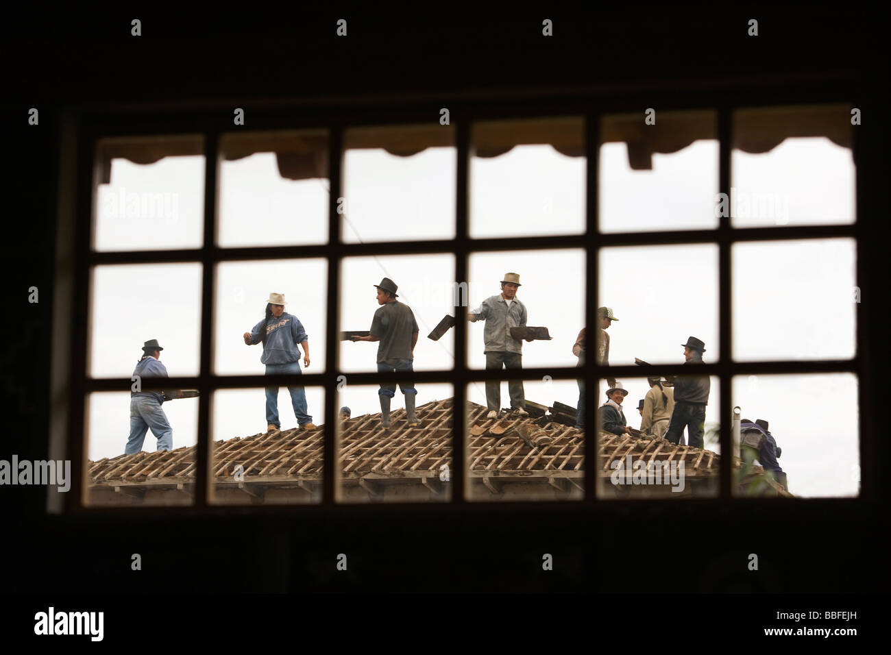 Indigenous community working together to rebuild church - Peguche, Imbabura Province, Ecuador - Stock Image