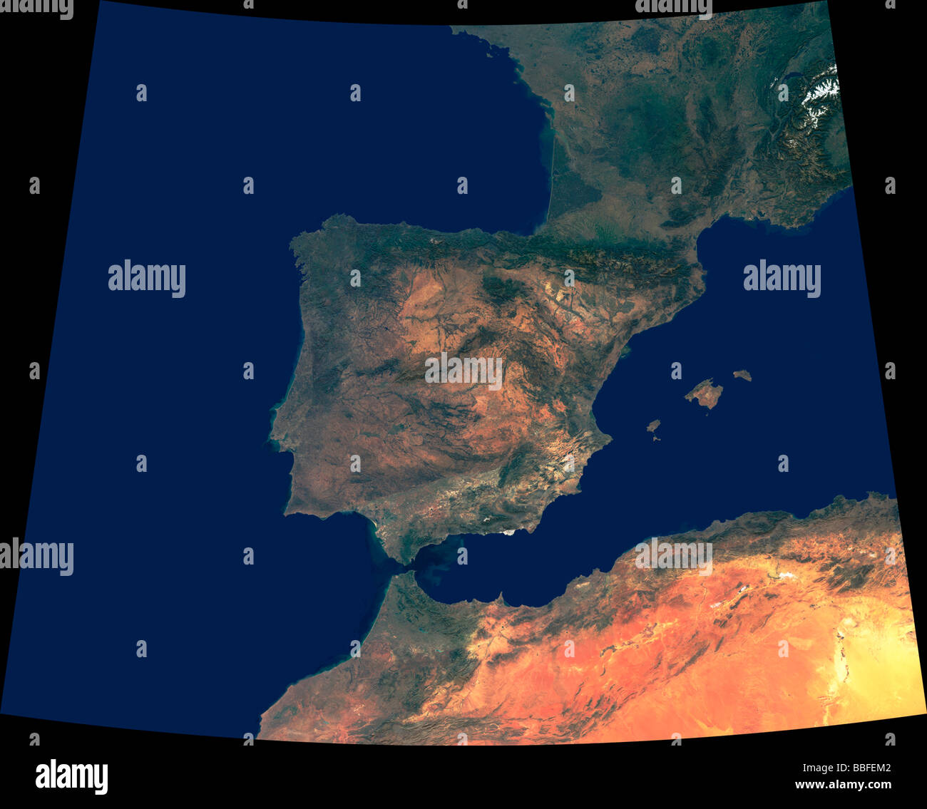 Satellite Map Of Spain.Computer Enhanced Satellite View Spain North Africa Stock Photo