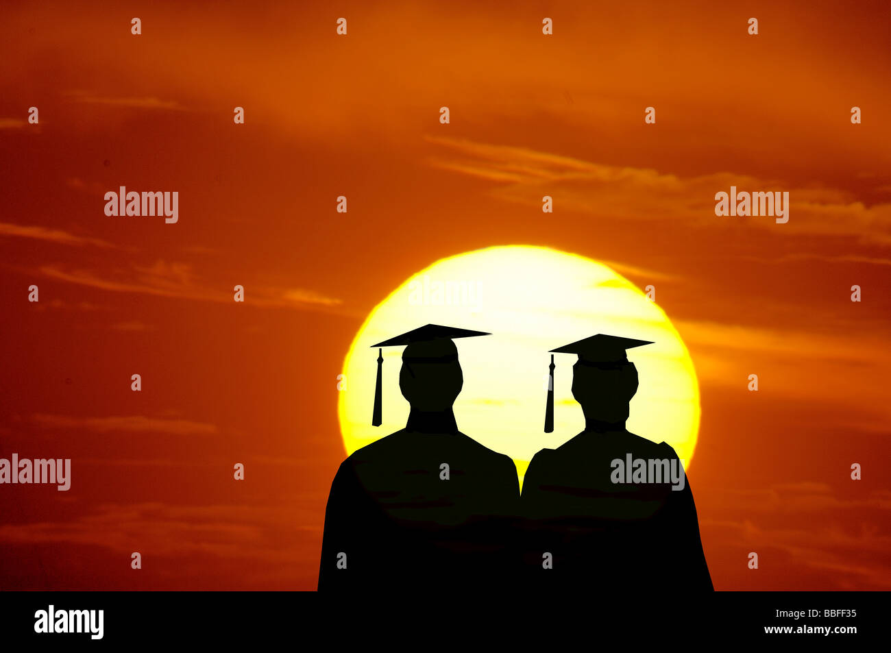 vector illustration of male and female graduates looking at sunset - Stock Image