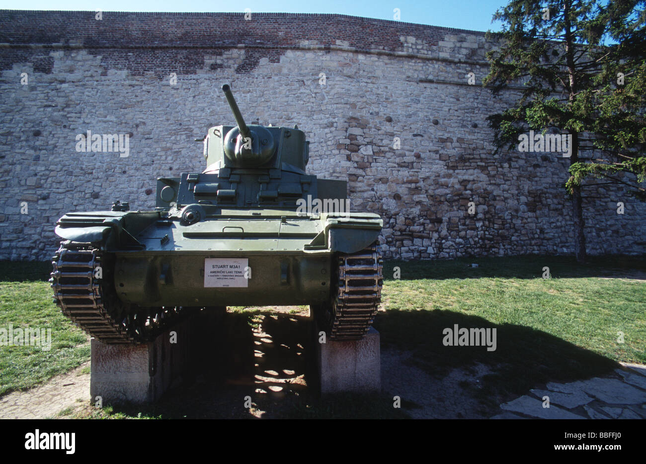 Second world war tank exposed in the military museum in the citadel walls of Kalemegdan park, Belgrade, Serbia - Stock Image