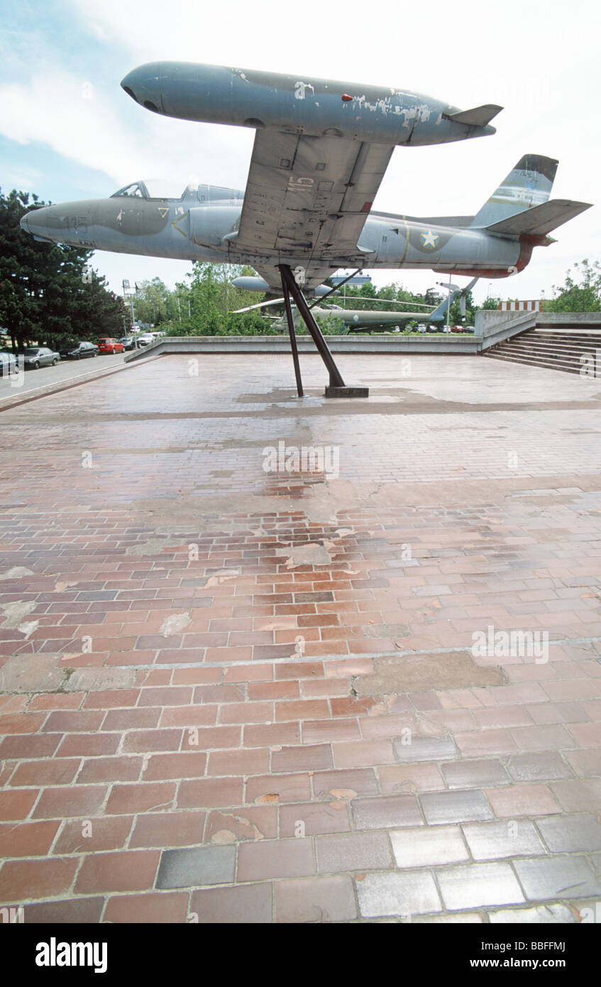 Military jet exposed in front of the Aeronautical museum at Nikola Tesla airport, Belgrade, Serbia - Stock Image