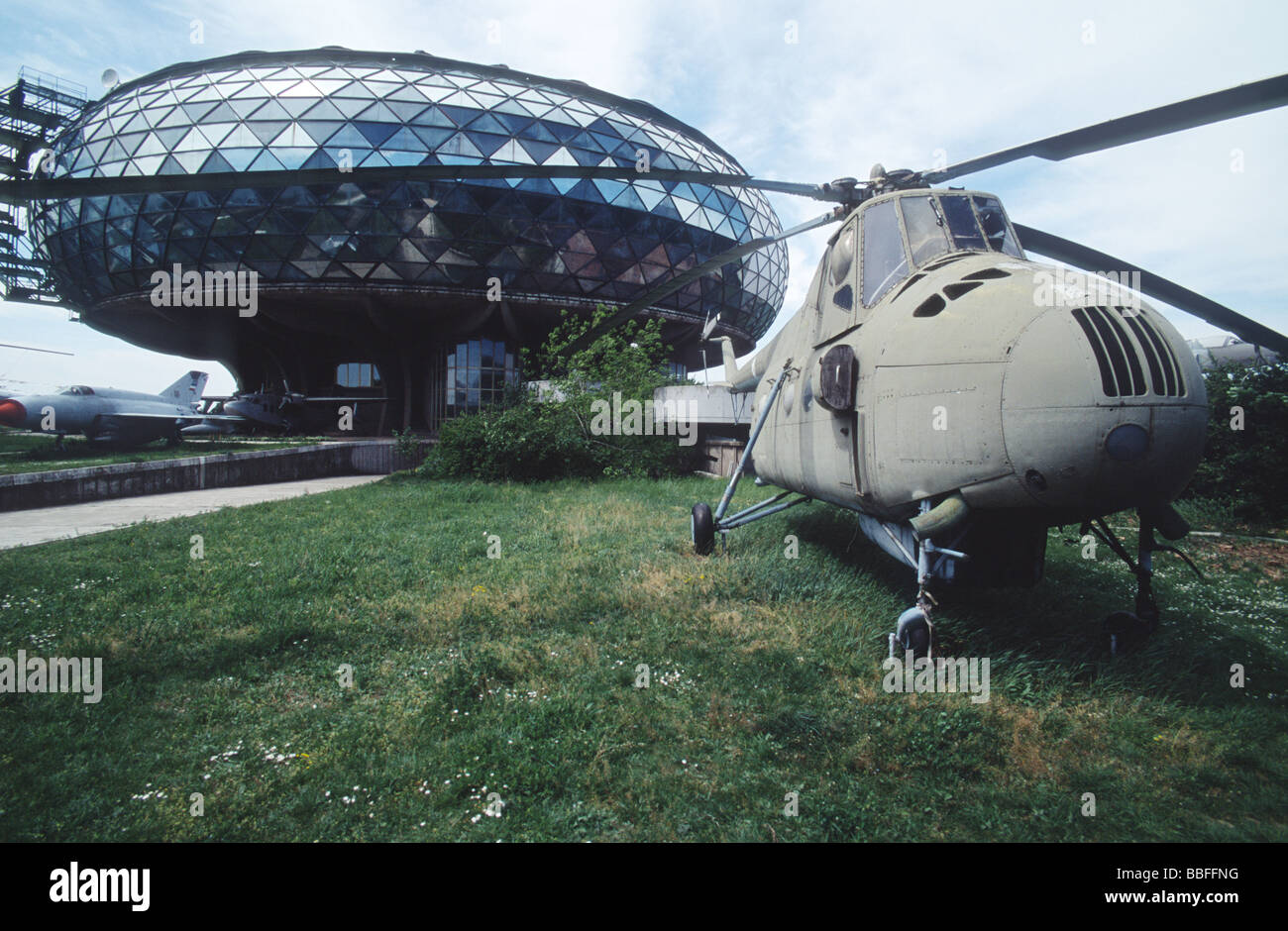 Military helicopter exposed in front of the Aeronautical museum at Nikola Tesla airport, Belgrade, Serbia - Stock Image
