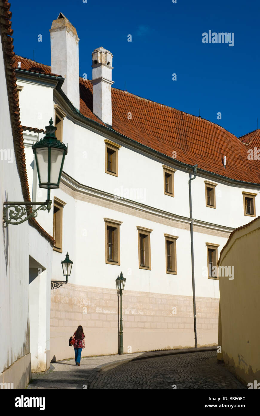 Streets of Hradcany the castle district in Prague Czech Republic Europe - Stock Image