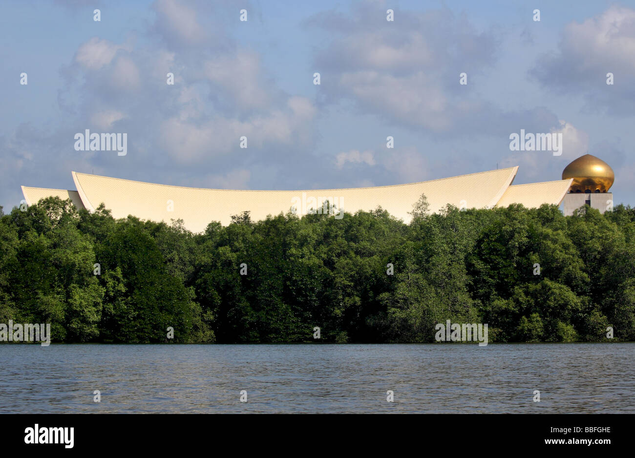 Sultan of Brunei's Palace from the river to the Mangroves Bandar Seri Begawan - Stock Image