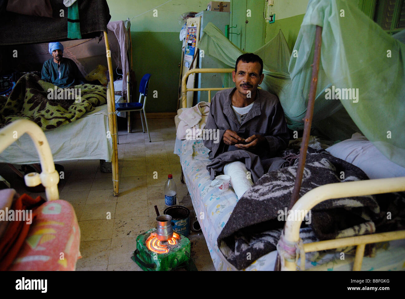 Two man suffering from leprosy are staying at the hospital of Egypt's leprosy colony. - Stock Image